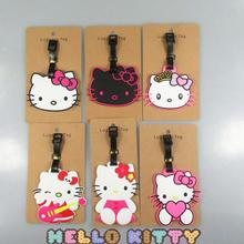 1Pcs/set Super Cute hello kitty Creative Silicone Luggage Tag Pendants Hang Tags Tourist Products Toy Figure