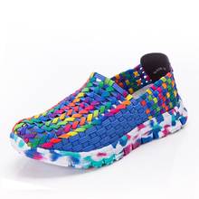 Women Shoes Summer Flat Female Loafers Women Casual Flats Woven Shoes Slip On Colorful shoe shoe Mujer Plus Size 42