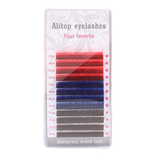 Alitop eyelashes 12rows,3 color ,red blue brown color eyelash extension,False Mink Extensions(China)