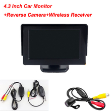 car Security Monitor 2-Channel Video Input  With 4.3 inch TFT LCD Display Rear view camera Backup Camera Wireless Receiver