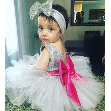 Brand Satin Girl Dress Sequin big bowknot belt Princess Party Wedding Dresses for Girls Christmas Style Sweet Kids Dress