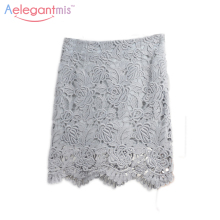 Aelegantmis 2017 Spring Summer Grey Elegant Hollow-out Pencil Lace Skirt Women Fashion Slim High Waist Bodycon Skirts Ladies