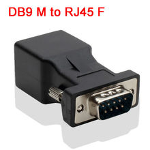 DB9 male RS232 COM Male Port to RJ45 Female Connector Card DB9 Port Extender to CAT5 CAT6 RJ45 Network Ethernet Cable Adapter(China)
