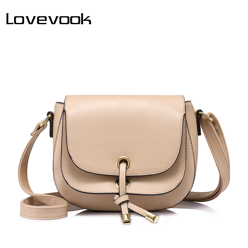 LOVEVOOK brand fashion women messenger bag female zipper crossbody bags high quality saddle shoulder bag Purple/Apricot/Beige(China)
