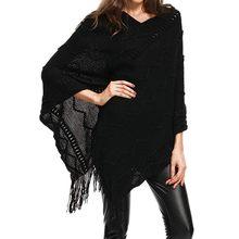 Date Femmes Britannique Style Poncho D hiver écharpe Gland Rayé Cardigan  Manteau Tricoté Ponchos et capes Chaud Châles Foulards . d569368eaa5