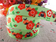"17030259,New arrival 7/8"" (22mm) 5 yards/lot animals ladybug printed grosgrain ribbons cartoon ribbon DIY handmade materials(China)"