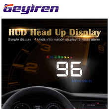 GEYIREN HUD head up display car RPM speed water temperature car-styling windshield projector OBD2 digital car speedometer alarm(China)