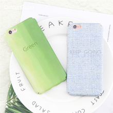 For Iphone 6 Case Newest Fresh Fashion Gradient Green Phone Case For Iphone 7 Ultra thin Matte Feel PC Shell For Iphone 8 Case(China)
