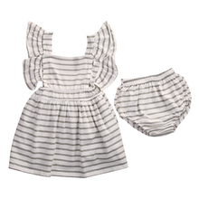 Infant Toddler Baby Bowknot Striped Girl Tulle Ruffled Flare Short Sleeve Party Bridesmaid Princess Girl Dresses+Baby Underwear(China)