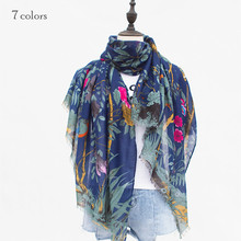 2017 Hot sale flower and brid pattern winter scarves and shawls fringe print scarf Great Fortunes women pashmina wrap 10pcs(China)