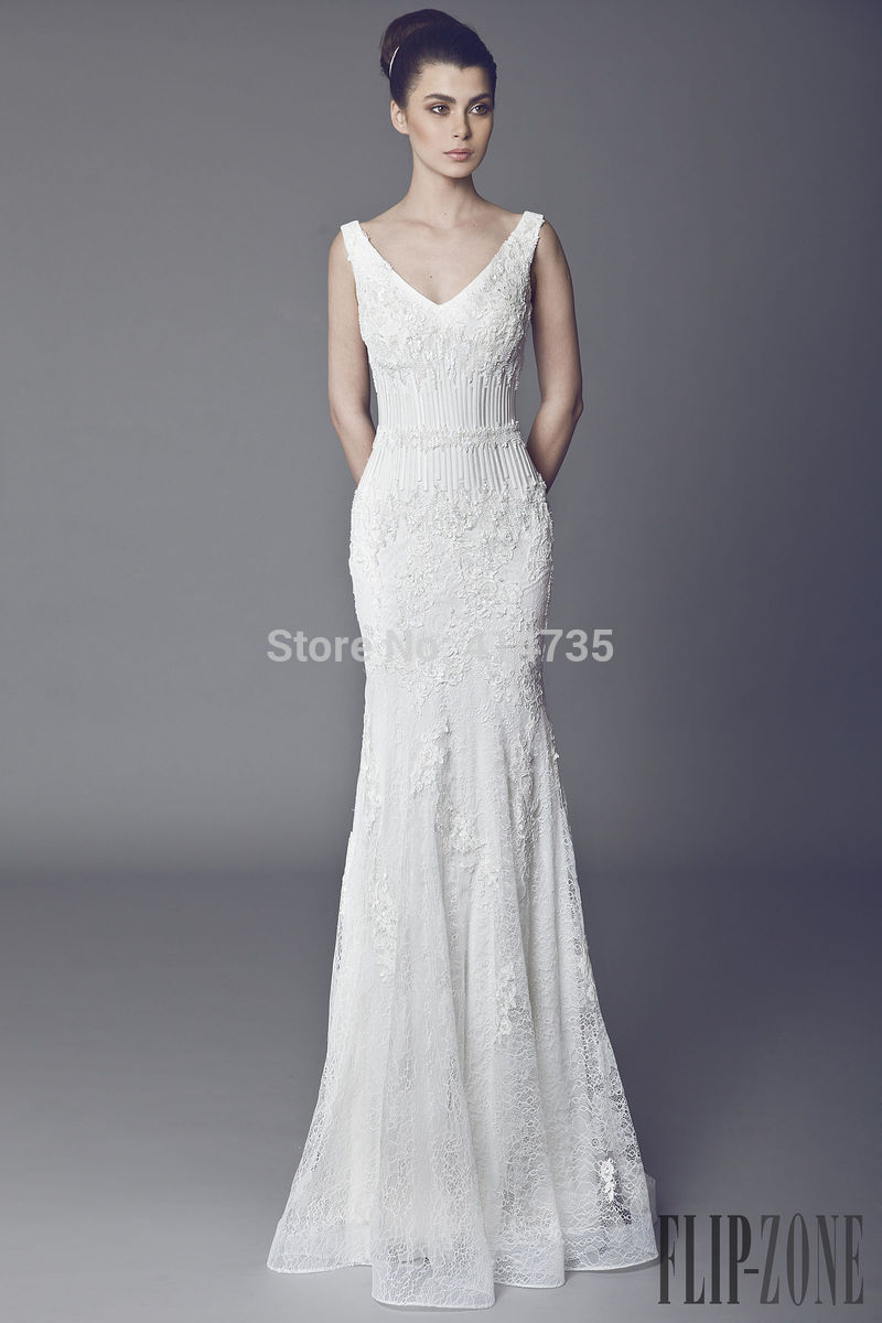 Online Wedding Dresses Under Tail Length Plus Size Casual High Street Uk Mermaid Floor Court Train Lace V Neck Ta 2017 Aliexpress
