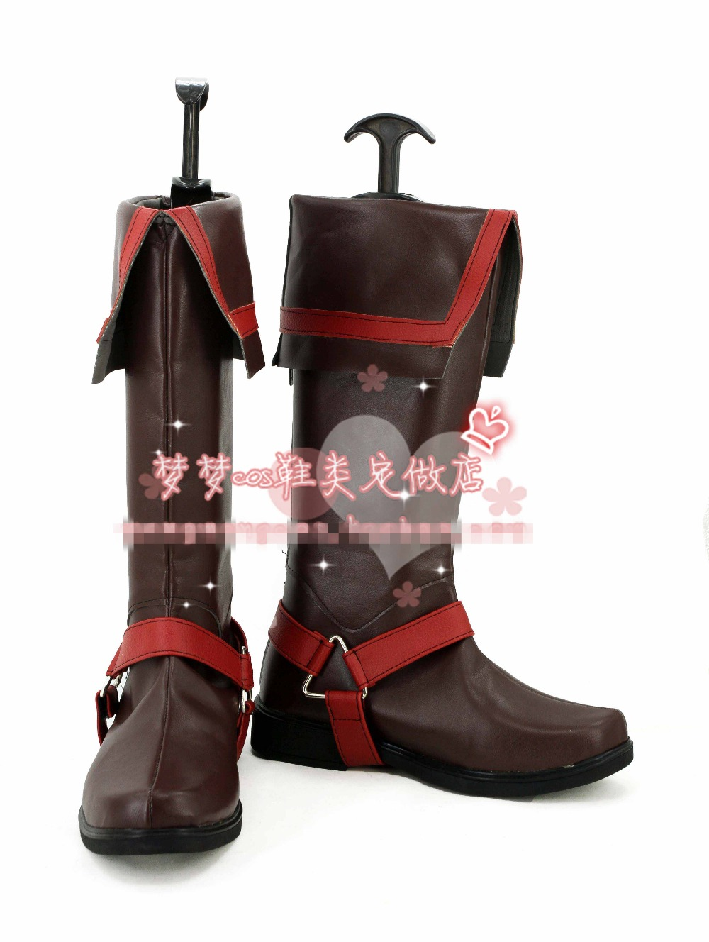 Free Shipping D.Gray-man Allen Walker Cosplay Shoes Halloween Brown High Boots Custom-made