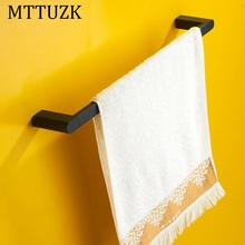 MTTUZK Black towel bar square towel rack Rubber paint bath towel rack hanging toalha bar Bathroom Accessories free shipping(China)