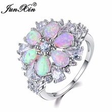 JUNXIN Fashion Women Pink Fire Opal Rings 925 Sterling Silver Filled Jewelry Vintage Wedding Rings For Women Birthstone Ring(China)