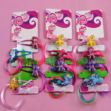 Top Quality My Little Cute Pony Hair Clips Hair Rope Cartoon Shiny Heart-shaped Hairpins Headress with Colorful Wig Decoration