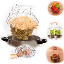 Foldable Steam Rinse Strain Fry French Chef Basket Magic Basket Mesh Basket Strainer Net Kitchen Cooking Tool