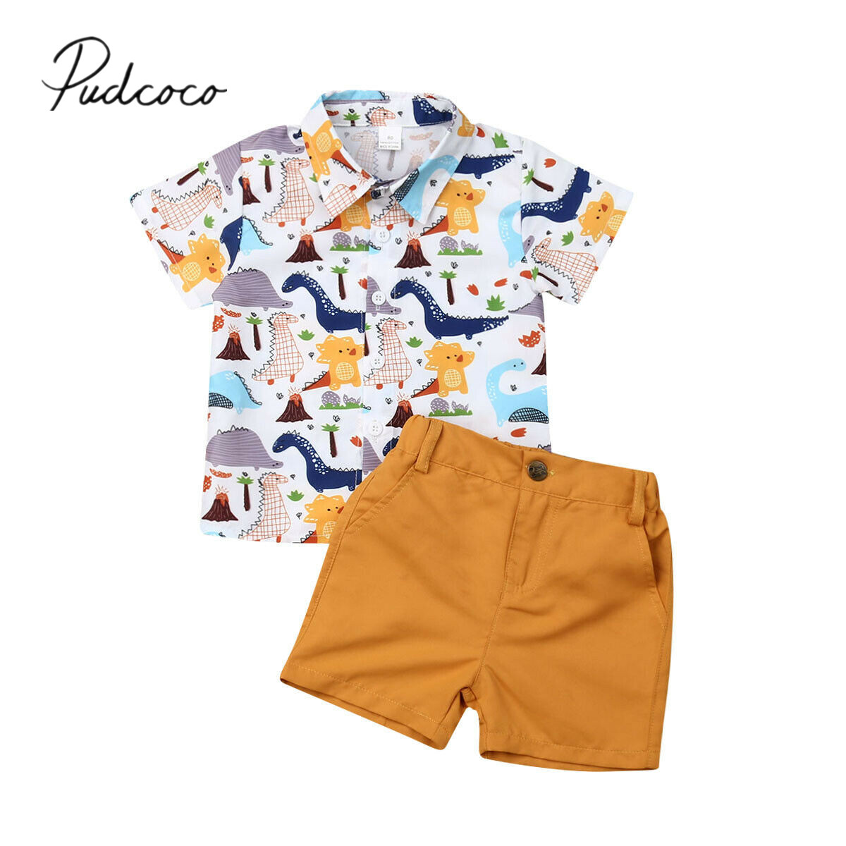 Shorts 1-5 Y Infant Baby Boy Shorts 2pcs Outfits Set,Summer Toddler Animal Printed Short Sleeve Button Down Shirt