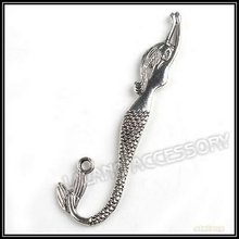 Carved Mermaid Shape Fashion Bookmark 45pcs/lot Metal Alloy Silver Plated Gift Bookmarks For Beading Handmade 81*22*3mm 160454(China)
