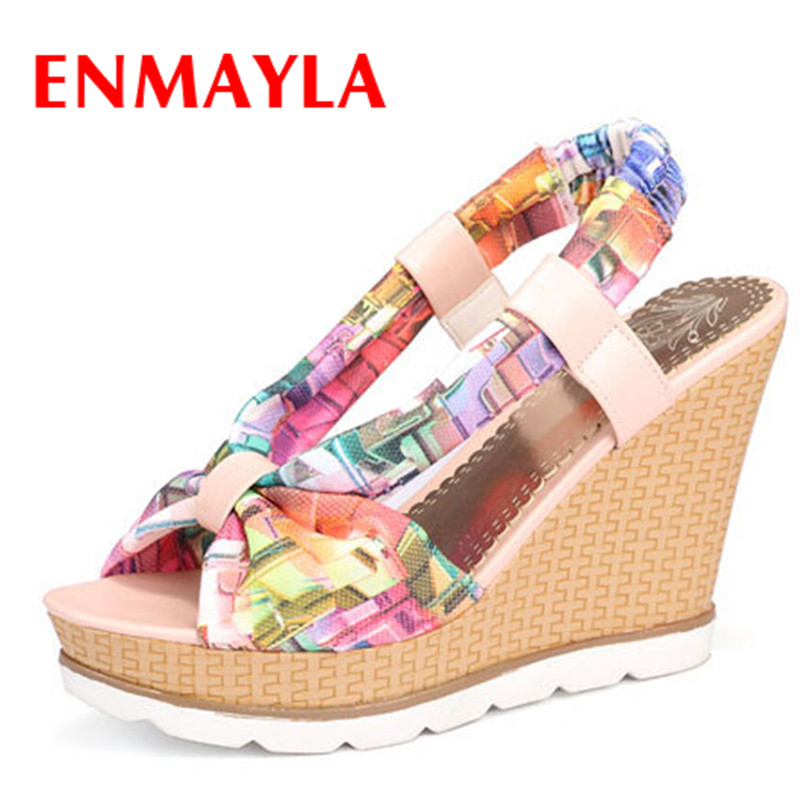 ENMAYLA Bohemia Beaded Colorful Ankle Strappy High Heels Summer Shoes Sexy Wedge Sandals Open Toe Platform Sandals Women<br><br>Aliexpress