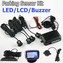 Viecar 4Sensors LED Display/LCD Display/Buzzer 22mm Car Parking Sensor Kit Reverse Backup Car Parking Radar Monitor No Hole Saw(China)