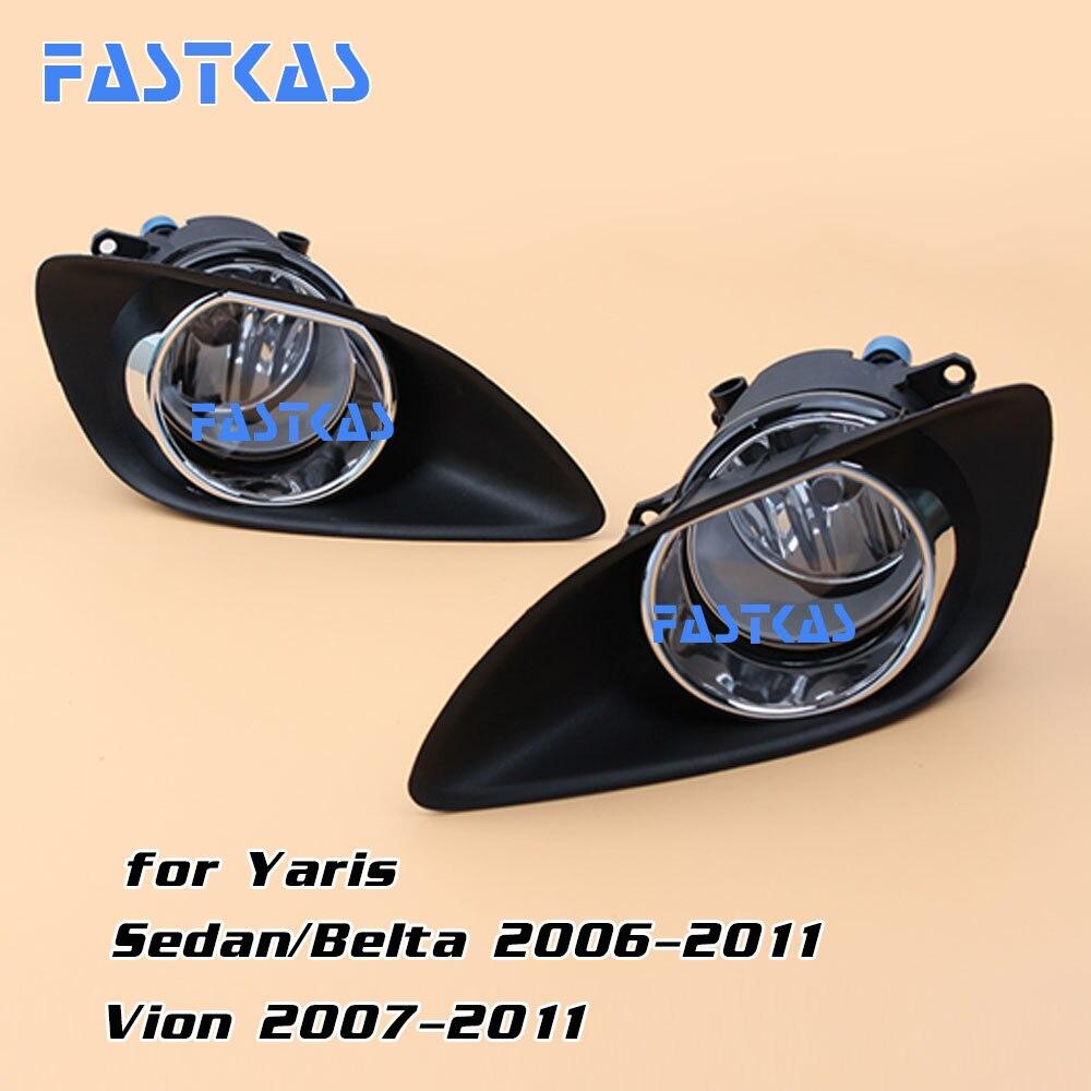 12v 55w Car Fog Light for Toyota Yaris Sedan/Belta 2006-2011 Vion 2007-2011 Left&amp;Right Fog Lamp with Switch Harness Chrome Cover<br>