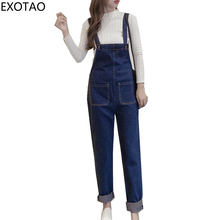 2017 Autumn New Denim Jumpsuits for Women with Pockets Overalls Female Strap Plus Size Casual Enteritos Loose Blue Jeans Rompers