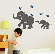 Cute Elephant (momma and baby) with Flying Birds Wall Decal Removable Vinyl Wall Decal Nursery Wall Decor Free Shipping