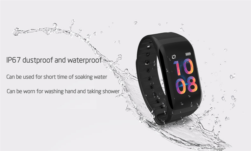EXRIZU F1S Smart Wristband Blood Pressure Heart Rate Monitor Smart Bracelet Women Men Sport Band Fitness Tracker for Android iOS 6