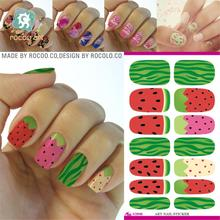 Fashion Water Transfer Nail Sticker Minx Cute Cartoon Watermelon Design Nails Art Decoration Manicure Foil Decals Free Shipping(China)