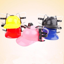 2017 New Beverage Holder Helmet Drinking Straws Handfree Beer Drinking Hat Lazy Helmet For Kids Birthday Party Favors