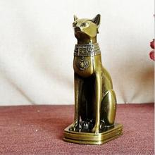 Metal Alloy Crafts Model Electroplating Retro Office Bar Restaurant Ornaments Egyptian Cat 8.5*6.5*15CM