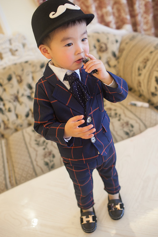 2019 Formal blue/gray plaid Boy Suit 2piece /Set Boy Plaid suit Jacket British  suit Vestido Infantil 2pcs/set Jacket+Pants