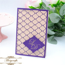 Ideal products personalized initials design laser cut indian wedding card with blank insert