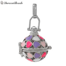 DoreenBeads Copper Wish Box Pendants Silver Tone Heart Carved Hollow Multicolor Enamel Can Open (Fit Bead Size: 18mm) 1PC