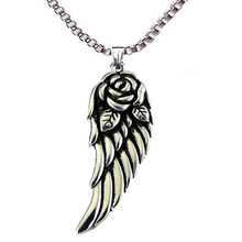 Stainless Steel Angel Wings Pendant Necklace Retro Charms Rose & Wing Punk Style Fashion Jewelry Wholesale  Thanksgiving gifts