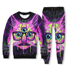 2017 Brand Clothing Fashion 3D 2 Piece Tracksuit Set Sweatshirt Hoodies+Sweatpants Print Three Eyed Purple Cat Unisex Men Women(China)