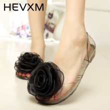 HEVXM 2017 New Summer Burst Models Women Fashion Lace Bow Flowers Flat Sandals Fish Mouth Jelly Shoes Plastic Female Beach Shoes