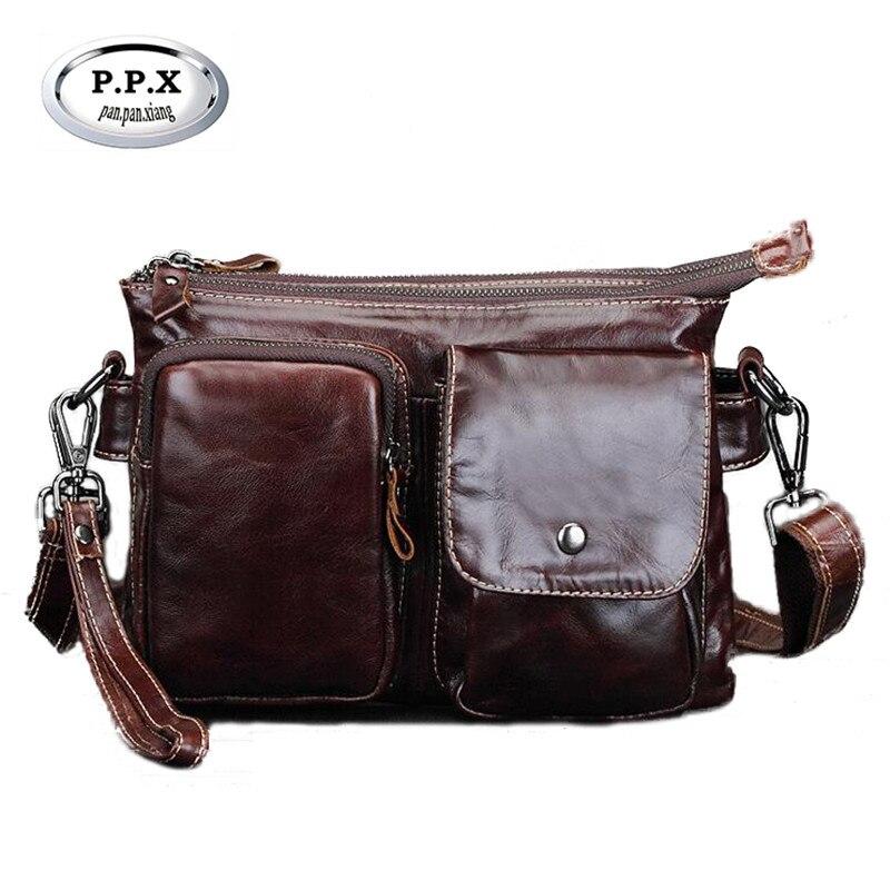 P.P.X Vintage Cow Leather Handbag Business Mens Briefcase Genuine Leather  Mens Casual Bag Hot Sale Crossbody Shoulder Bag M590<br>