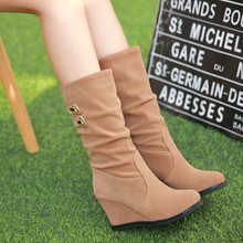 2016 New Autumn Winter Casual Female Lady High Heels Boots Sweet Korean Women's Fashion Suede Leather Wedges Long Boots Students