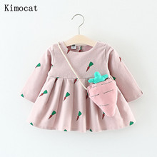 Baby Dresses 2017 New Autumn Baby Girls Clothes Cute Carrot Printing Princess Newborn Dress Suit For 6M-24M(China)
