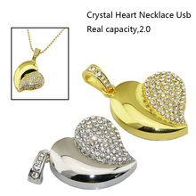 2016 New Fashion Real Capacity Jewelry Crystal Necklace Heart 8GB 16GB 32GB Pen Drive Pendrive USB Flash Drive girl gift