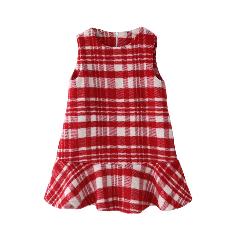 Plaid Girls Dresses Sleeveless  2018 New Girls Clothes Cotton Thick Children Dresses Clothing Warm Girl Clothing Kids Dressesess<br>