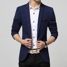 New 2017 Fashion Men's Casual Blazer Single Button Dress Blazer Jacket Male Slim Fit Mens Suit Jacket Solid Coat(China)