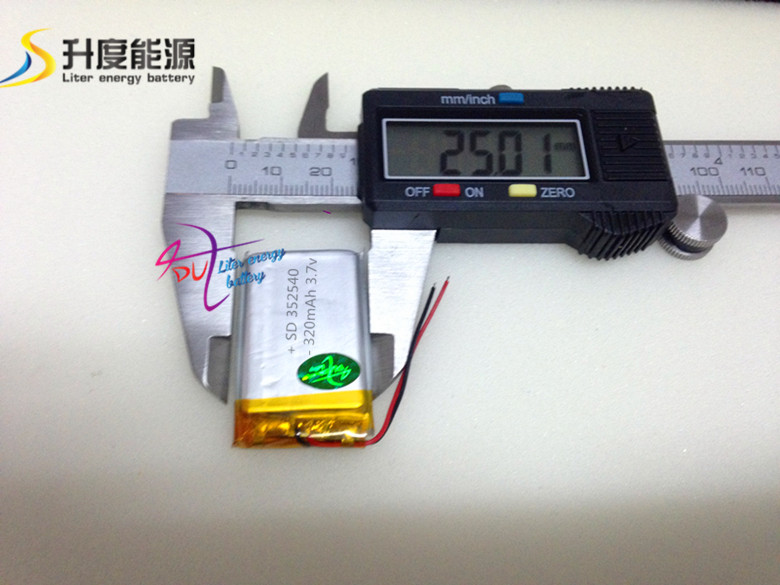 Li-polymer Battery 352540 3.7v 320mAh Lithium Polymer Battery Rechargeable Battery Good Quality OEM For GPS(China (Mainland))