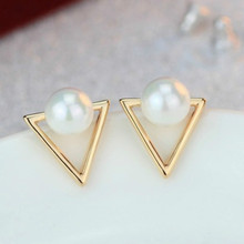 Hot Fashion Retro Earrings Personalized Triangle Imitation Pearl Earrings For Women Jewelry Geometric Earrings Wholesale(China)