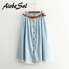 Summer 2016 Women Cotton Denim Skirt Femme Mori Girl Style Lace Patchwork Single Breasted Pleated Jean Skirt Long Saias Belted