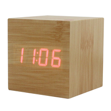 Wood Cube LED Alarm Control Digital Desk Clock Wooden Style Room Temperature Bamboo wood red led(China)
