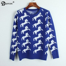 JOYDU Runway Design Pullover Tops 2017 Winter Sweater Women Horse Pattern Long Sleeve Fashion Brand Knit Jumper pull femme hiver(China)