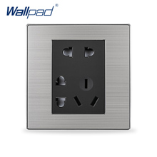 2017 Hot Sale 7 Pin Socket Wallpad Luxury Wall Power Socket Panel Outlet Black / Champagne AC 110-250V(China)
