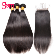 Straight Hair Bundles with Closure GEM Beauty Malaysian Hair Free Part Lace Closure with Baby Hair Non Remy Human Hair Bundles(China)
